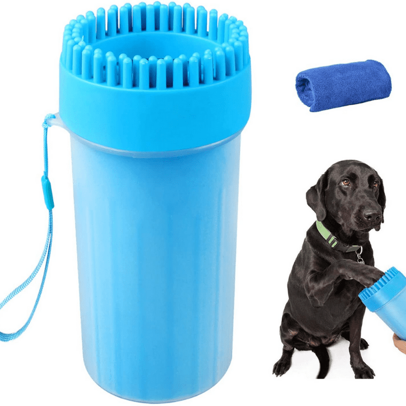 Dog Paw Cleaner and a dog using it