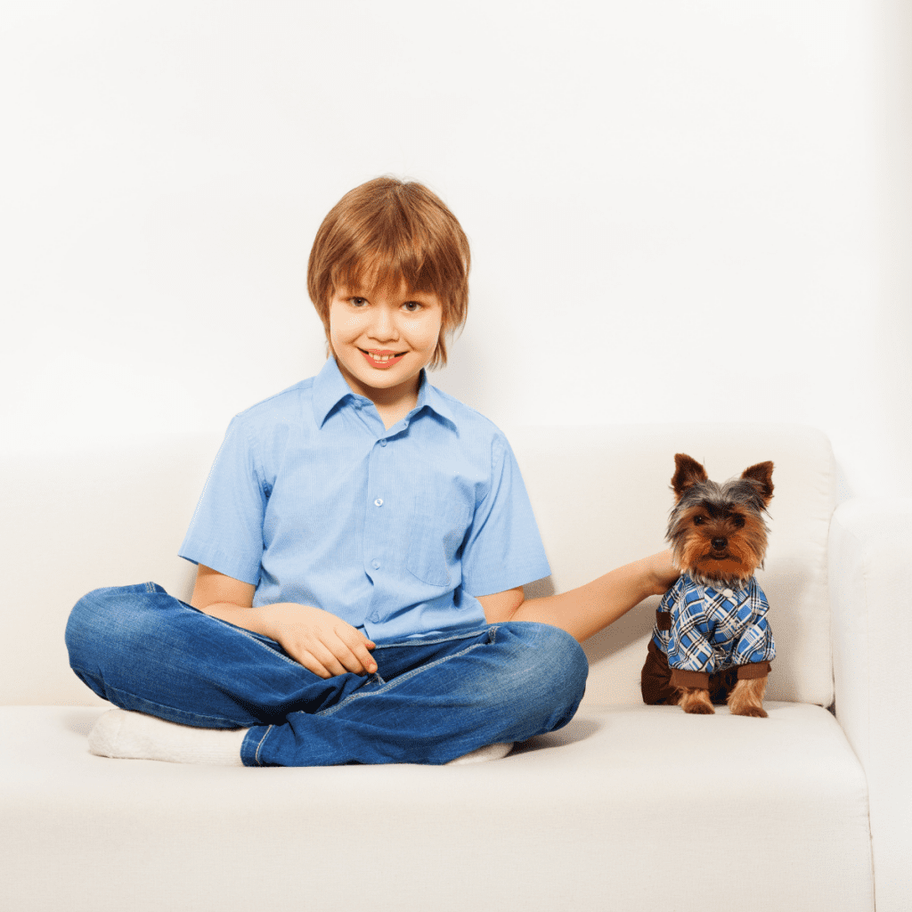 Child sitting nicely with a Yorkshire Terrier dog