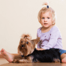 child gently petting a Yorkshire Terrier whilst sitting down
