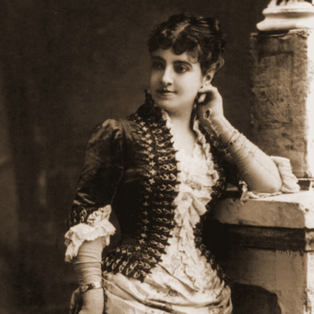 lady standing by window, old photo of Adelina Patti