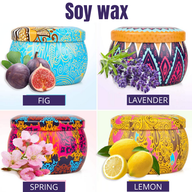 four soy wax candles, colourful packaging