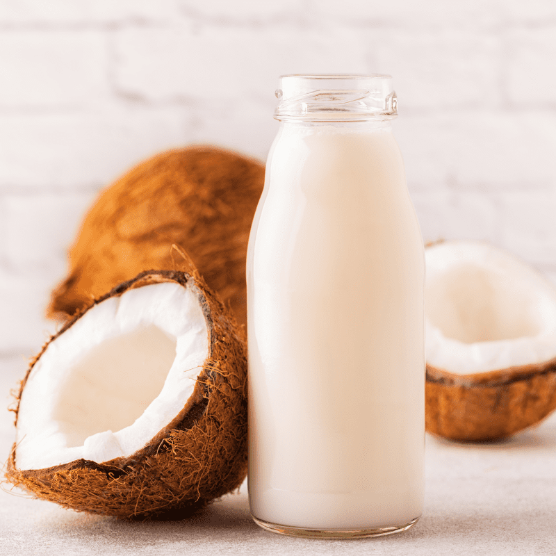 Coconut milk in a bottle with coconuts whole