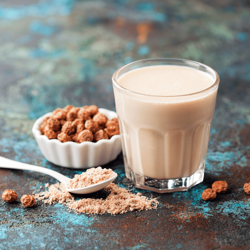 Tiger nuts flour and glass of milk