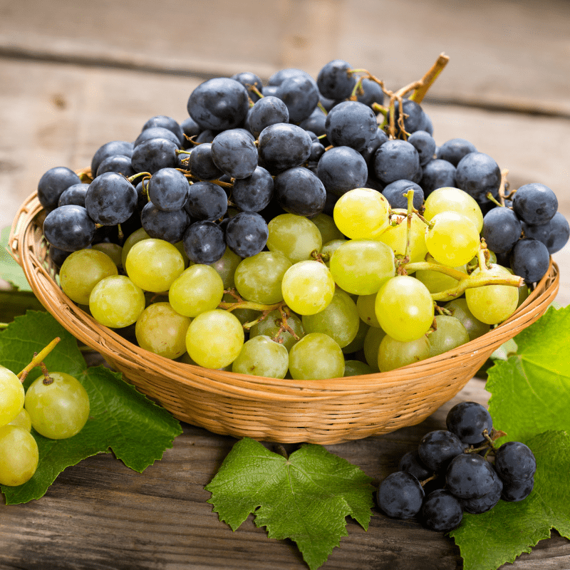Black and green grapes in a basket