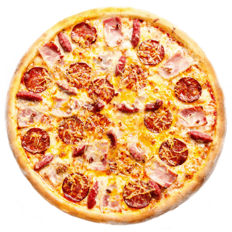 Meat pizza on a white background